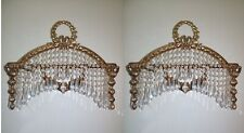 Pair French Empire Replica Ornate Brass Crystal Wall Sconces Appliques