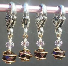 PURPLE AB CRYSTAL CROCHET STITCH MARKERS -- FREE SHIPPING TO U.S.