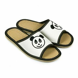 Womens eco Leather Slippers Slip On Shoes  Mules sandals Ladies Size 4 5 6 7 8 9