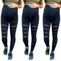 Fashion Women Pregnant Maternity Solid Hole Trousers Belly Legging Elastic Pants