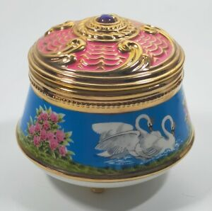 House of Faberge Franklin Mint Imperial Musical Trinket Box  - Swan Lake