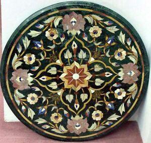 2' Green  Marble Side Table Top Inlay Handmade Home Set Decor  Malachite