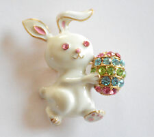 Easter Bunny w Easter Egg Pin and/or Pendent / White Rabbit w Crystal Chip Egg