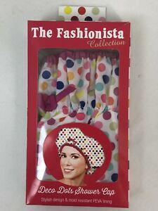 Betty Davis Creations - Deco Dots Shower Cap, Multicolored, NEW