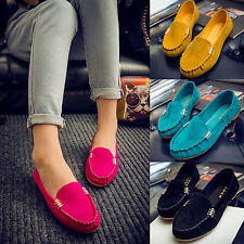Womens Faux Suede Loafers Moccasin Flats Slip On Casual Pumps Anti Slip  Shoes