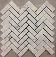 Carrara White Italian Bianco Carrara Marble 3/4 X 2 3/4 Herringbone Mosaic Tile