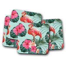 4 Set - Pink Tropical Flamingo Coaster - Flowers Lotus Palm Trees Fun Gift #8620