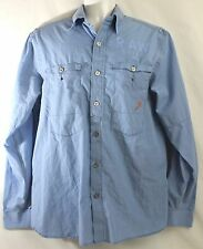 Men's G-Star Raw 3301 Size L Blue 100% Cotton Button Front Long Sleeve Shirt