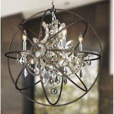 4-light D24''H26'' Chrome w/ Flemish Brass Cage Golden teak Crystal Chandelier