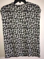 Akris sleeveless blouse geometric black white high neck printed