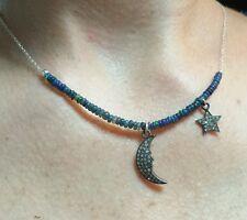 1ct genuine pave moon star diamond Ethiopian black fire Opal silver necklace