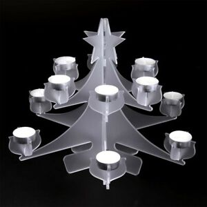 Christmas Tree Tea Light Candle Holder - Acrylic - Clear / Frosted - Centrepiece