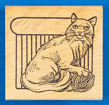 Long Haired Cat Rubber Stamp - With Ball of Yarn and Small Plate- Stamp Pad Co