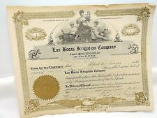 1910 New Mexico Territory Las Bocas Irrigation Co. Stock Certificate