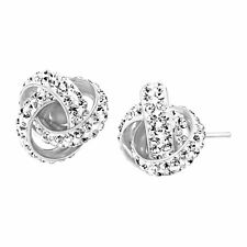 Crystaluxe Love Knot Stud Earrings with Swarovski Crystals in Sterling Silver