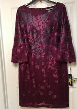 Karl Lagerfeld Women's Size 12 Dress Maroon Embroidery Floral, Bell Sleeves NWT