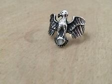 Vintage Mexico Sterling Silver .925 Eagle Ring with MOP Inlay size 6.5