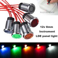 8mm 12V LED Auto Anzeigelampe Signalleuchte Kontrollleuchte  !