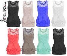Ärmellose Taillenlang Damenblusen,-Tops & -Shirts mit Baumwolle für Party