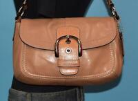COACH Soho Tan Brown Leather Buckle Flap Hobo Shoulder Purse Bag 13105
