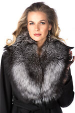 Genuine Real Silver Fox Fur Collar Scarf for Women