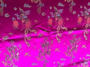 Vintage Retro Fabric Sewing Craft NOS 90 x 69cm Asian Jacquard Pink