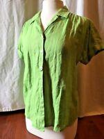 J. Jill Blouse Women's Size Small Green 100% Linen Short Sleeve Top V Neck Shirt