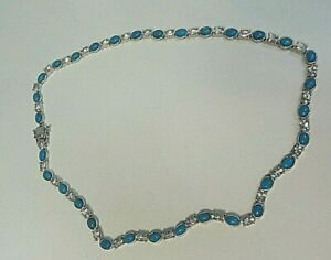 """Turquoise and Topaz Sterling Silver Necklace 18"""""""
