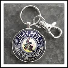 Vintage Gunpowder Tin American Powder Mills Boston Dead Shot Photo Keychain