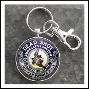 Vintage Gunpowder Tin American Powder Mills Boston Dead Shot Photo Keychain