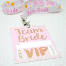 Team Bride 'Rose Gold' Hen Party VIP Pass Lanyards ~ Hen Bachelorette Favours