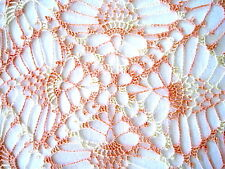 Square Peach and Cream Variegated Colored Colored Hand Crocheted Doily 10""