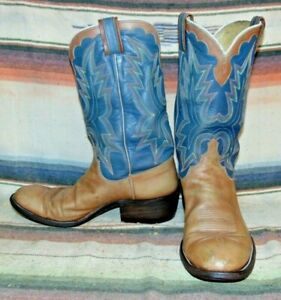 Mens Vtg Rusty Franklin Handmade Brown Blue Leather Cowboy Boots 9.5 D Good Cond