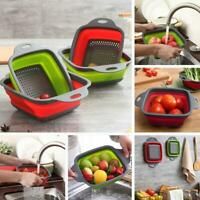 Over the Sink Colander Strainer Adjustable Foldable Drain Basket Kitchen Tool US