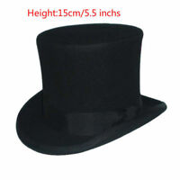 """Vintage Wool Black Victorian Mad Hatter Top Hat Vivi Performing Cap  5""""Crown US"""