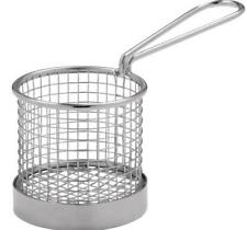 36 x Presentation Mini Round Fry Basket with Handle 80x80mm Stainless Steel