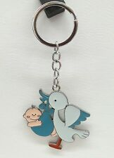 12 Baby Shower metal Keychain Stork party favor boy blue-llavero cigüeña azul