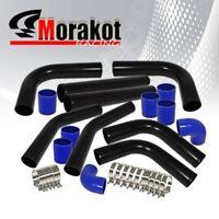 "Universal 3/""Inch Aluminum 8Pcs Diy Turbo Intercooler Piping Kits Pipe Black Blue"