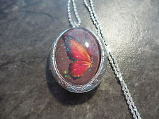 "GLASS CAMEO BUTTERFLY LOCKET 26"" CHAIN   RED ORANGE"