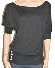 R.J. Story Designer Black Cotton Knit Short Sleeve Pullover Top Size M BNWT