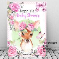 Personalised Baby Shower Welcome Print Cute Deer Gift/ Girl/keepsake Mum To Be