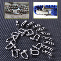 10X Adjustable Stainless Steel U Shaped Shackle Buckle For Paracord Bracelet Pip