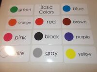 11 Laminated Basic Colors Picture and Word Flashcards. Preschool and Daycare edu