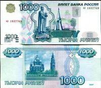 RUSSIA 1000 1,000 RUBLES 1997 P 272 a FIRST TYPE AUNC ABOUT UNC