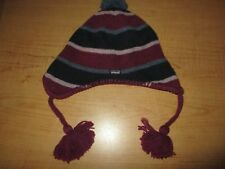 PATAGONIA Pom Beanie Wool Winter Hat Women s Purple Stripe Fleece Lined -  Nice! b5be5f7cdd57