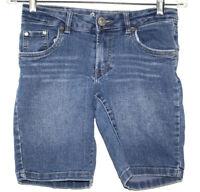 Levis Girls Sz 14 Regular Blue Jean Walking Shorts Rhinestones Adjustable Waist