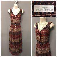 St Michael M&S Brown Mix Sleeveless Dress UK 10 EUR 38