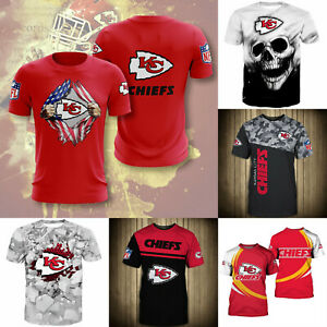 Kansas City Chiefs Men's Football T Shirts Summer Casual Shirts Short Sleeve Tee