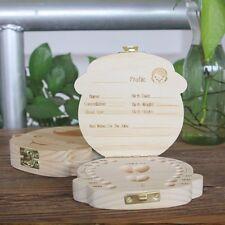 1PC Cute Wooden Baby Milk Teeth Holder Tooth Box Saver Organizer Storage Case
