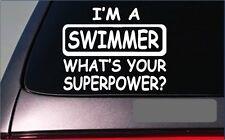 "Swimmer Superpower Sticker G451 8"" Vinyl Decal swimming pool diving snorkel"